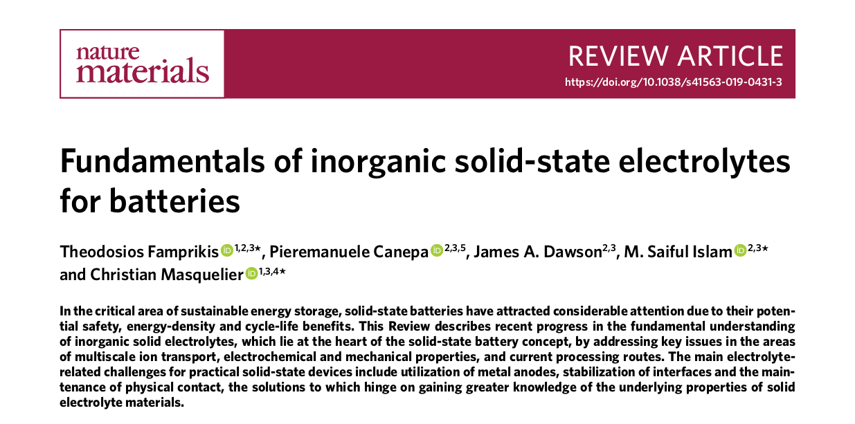 Dr  Canepa published his battery work in Nature Materials